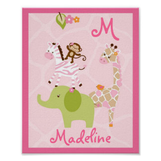 Pink Jungle Animal Monogram Poster