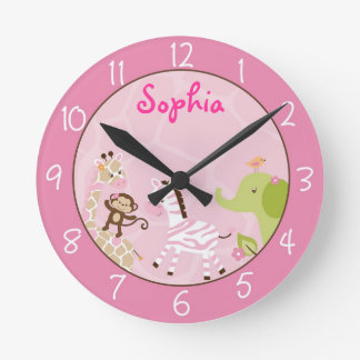 Pink Jungle Animal Round Clock