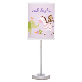 Pink Jungle Animal Table Lamp