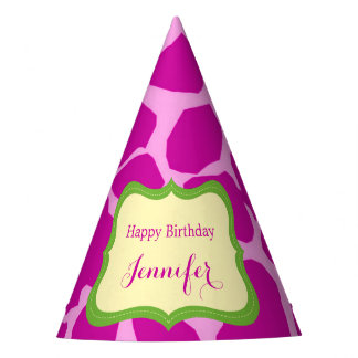 Pink jungle safari animal girl party hat
