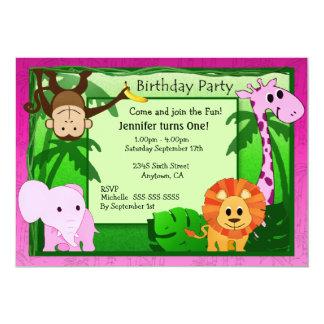 "Pink Jungle Theme Kids Birthday Party Invite 5"" X 7"" Invitation Card"