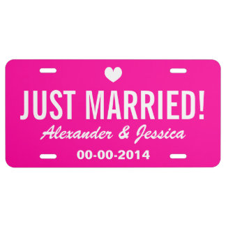 Pink Just married license plate for wedding car