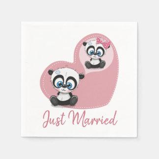 Pink Just Married Panda Teddy Bear Heart Wedding Paper Napkin