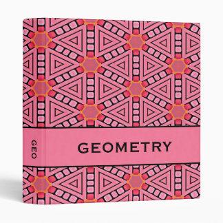 "Pink Kaleidoscope Geometric Design 1"" Binder"