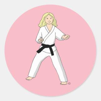 Pink Karate Princess Stickers