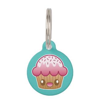 Pink Kawaii Cupcake With Custom Info Pet Name Tag