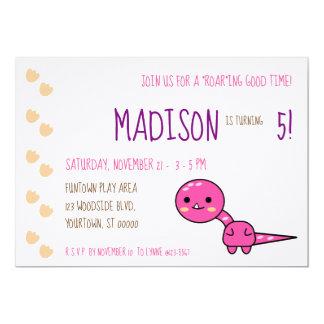 Pink Kawaii Dinosaur Birthday Party Invitation