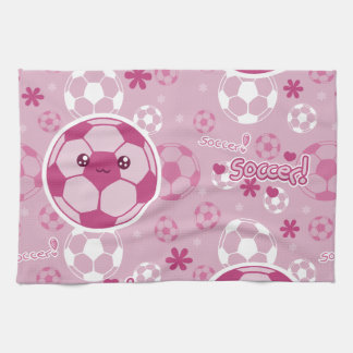 Pink Kawaii Soccer Pattern Kitchen Towel
