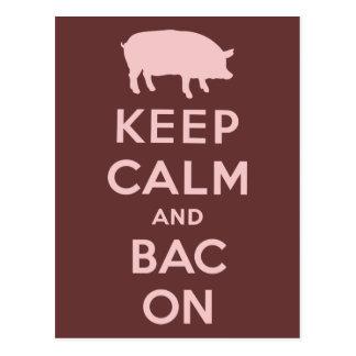 Pink keep calm and bacon postcard