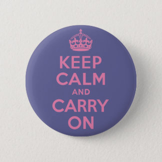 Pink Keep Calm And Carry On 2 Inch Round Button