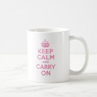Pink Keep Calm And Carry On Basic White Mug