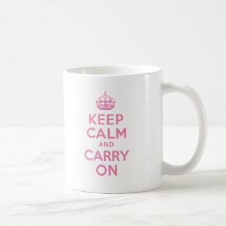 Pink Keep Calm And Carry On Classic White Coffee Mug