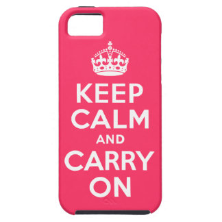 Pink Keep Calm and Carry On iPhone 5 Case
