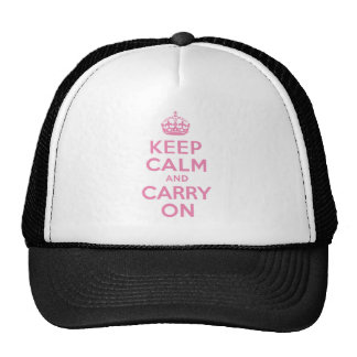 Pink Keep Calm And Carry On Trucker Hat