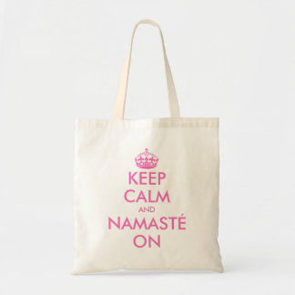 Pink keep calm and namasté on yoga tote bag