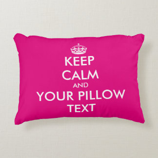 Pink keep calm and your text accent throw pillow