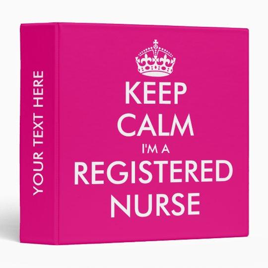Pink keep calm i'm a registered nurse binder