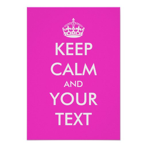 Pink Keep Calm Poster Template Zazzle Ca