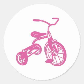 Pink Kid's Tricycle Round Sticker