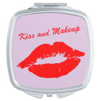 Pink Kiss and Makeup Lips Custom Wording Compact Mirrors