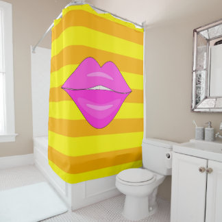 Pink kiss lips orange stripes shower curtain