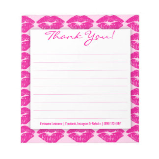 Pink Kisses Galore - Custom Thank You Notepad