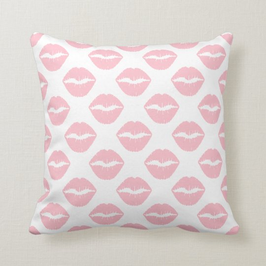 Pink Kisses Throw Pillow