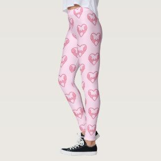 Pink Kissing Cats Heart Leggings