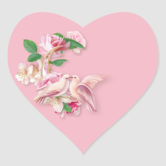 Pink Kissing Doves & Roses Heart Stickers