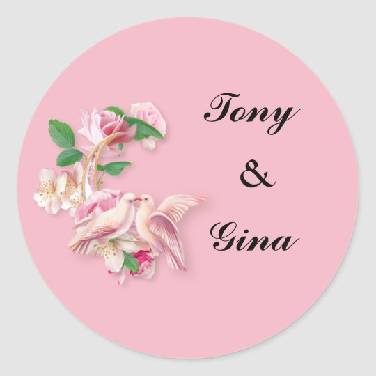 Pink Kissing Doves Wedding Pink Round Stickers