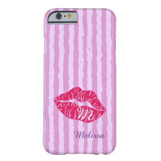 Pink kissing lips-Monogram design Barely There iPhone 6 Case