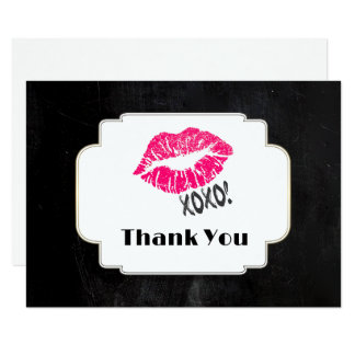 Pink Kissy Lips with xoxo! Gold on Black Thank You Card