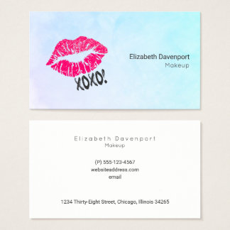 Pink Kissy Lips xoxo! Turquoise Color Professional Business Card