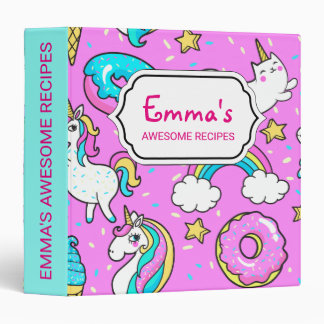 Pink Kitschy glittery funny unicorn and kitty 3 Ring Binders