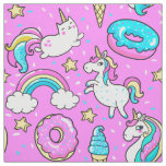 Pink Kitschy glittery funny unicorn and kitty Fabric