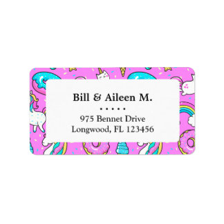 Pink Kitschy glittery funny unicorn and kitty Label