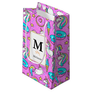 Pink Kitschy glittery funny unicorn and kitty Small Gift Bag