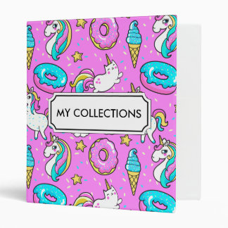 Pink Kitschy glittery funny unicorn and kitty Vinyl Binder