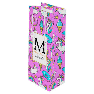Pink Kitschy glittery funny unicorn and kitty Wine Gift Bag