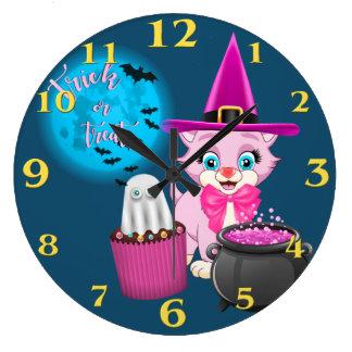 Pink Kitten Halloween Cartoon Large Clock