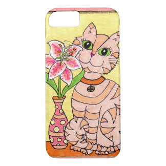 Pink Kitten with Tiger Lily iPhone 7 Case