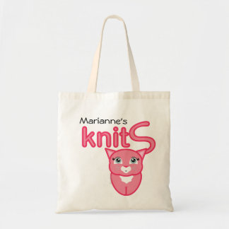 pink kitty KNITTING SUPPLIES gift tote