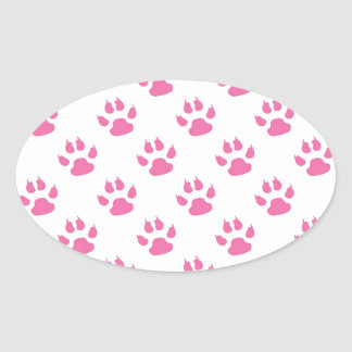 Pink kitty paw print patter oval sticker