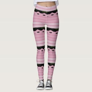 Pink Kitty Stripes Leggings