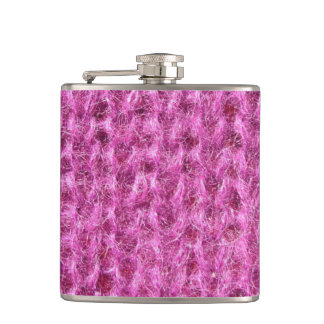 Pink Knitted Fabric Hip Flask