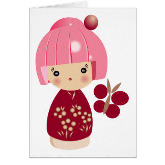 Pink Kokeshi Triplet Card
