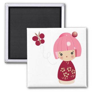 Pink Kokeshi Triplet Magnet