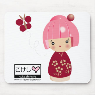 Pink Kokeshi Triplet Mouse Pad