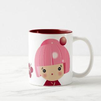 Pink Kokeshi Triplet Mug
