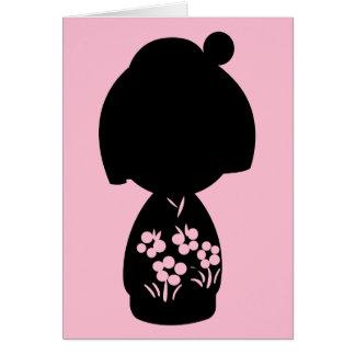 Pink Kokeshi Triplet Silhouette Note Card